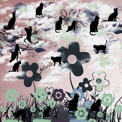 ネコと花と夕日 .jpg
